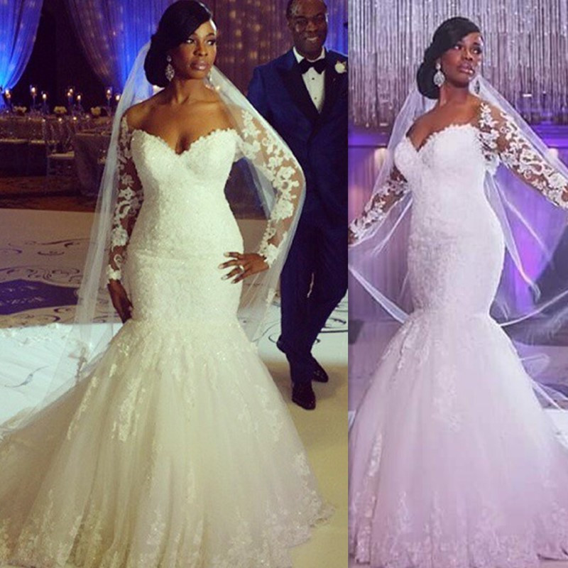 Mermaid Style Lace Wedding Gowns: Plus Size Wedding Dresses 2016 Long Sleeves Lace V-neck