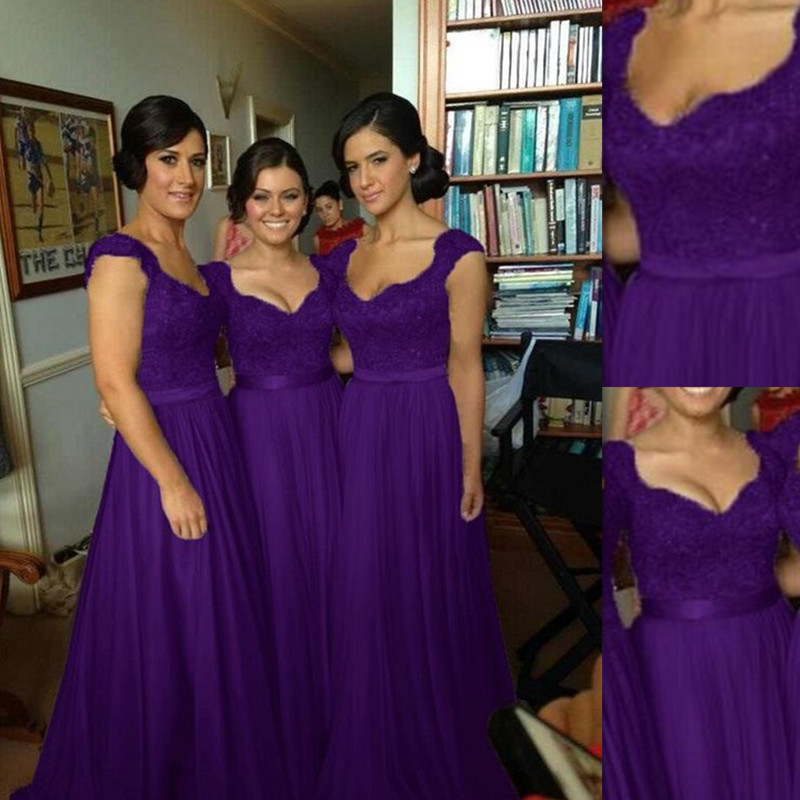 Bridesmaid Dresses Purple 2016 Top Lace And Skirt Tulle Country Style Fashion For Greek S Long Maid Of Honor Gowns Made In China